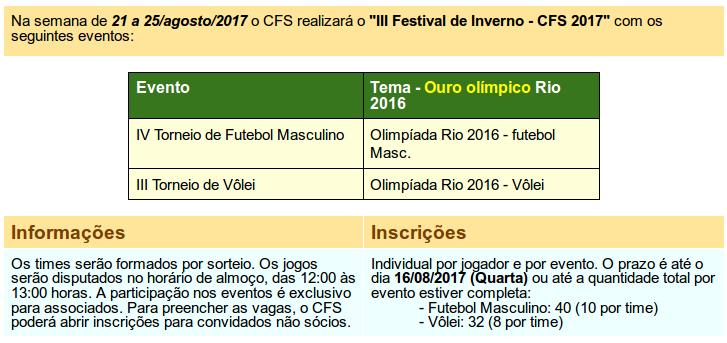 Resumo de regras festival de inverno